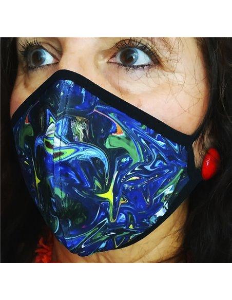 Mascarillas de neopreno reutilizable REVERSIBLE Etnica Azul